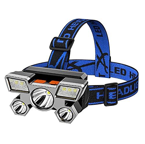 QSMGRBGZ Linterna Frontal, 5 * LED Faros Delanteros con Zoom 4 Modos, Lámpara Frontal Recargable USB Linterna Ajustable De 90 °, para Acampar, Montar A Caballo, Correr