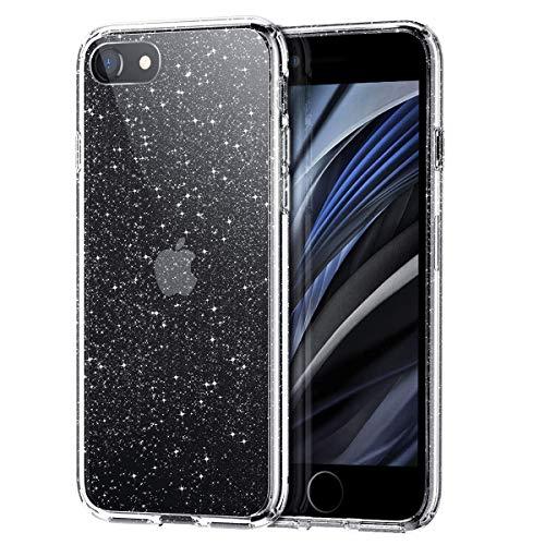Meifigno Glitzer iPhone SE 2020 Hülle, iPhone 8 Hülle, iPhone 7 Hülle, Harter Rücken mit weichem TPU, [Militärschutz] mit Luftkissen, Glitzer Hülle für iPhone SE 2. /8/7 4,7