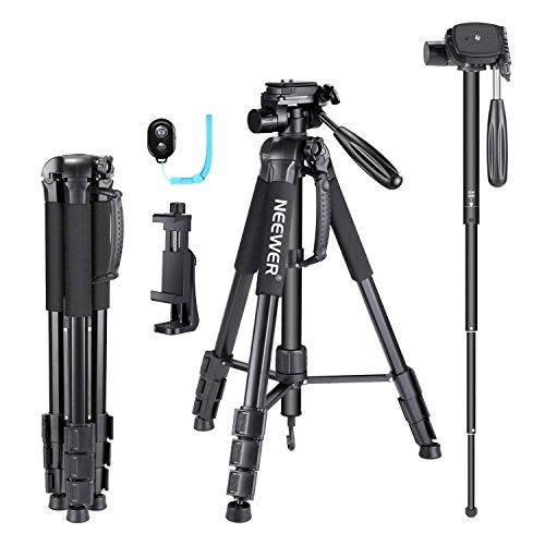 Neewer Aluminium Kamera Stativ mit 3-Wege Kugelkopf, Handy Halter, Bluetooth Fernbedienung, Tragetasche, Höhe 53-177cm, belastbar mit bis zu 4kg schwarz (SAB264)