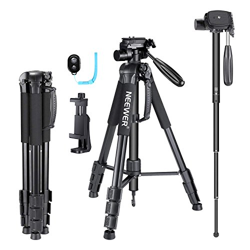 Neewer 70 inches Aluminium Camera Tripod Monopod with 3-Way Swivel Pan Head,Cellphone Holder,Bag for iPhone,Samsung,Huawei Smartphone,DSLR Camera,Load Up to 8.8 Pounds Black (SAB264)