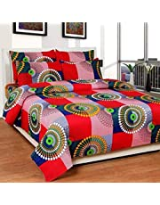 IVAZA Premium 160 TC Polycotton Latest Beautiful 3D bedsheet Double Bed with Two Pillow Covers