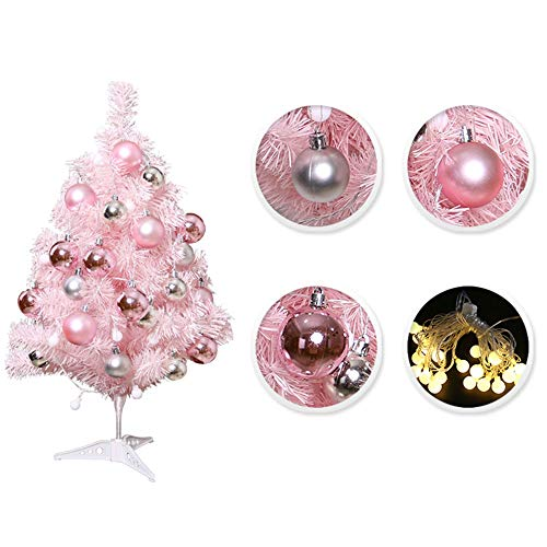 Asdomo -Tabletop Christmas Tree Small Artificial Tree with Balls, Stand LED Lights Mini Christmas Tree for Christmas Decorations, Home , Kitchen, Dining Table Xmas Indoor Decor 23.6inch