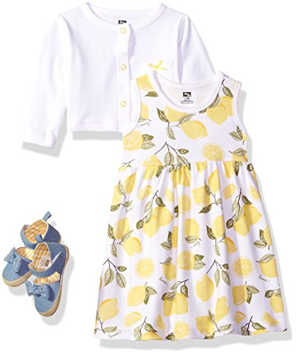 Hudson Baby Baby Girls' Cotton Dress, Cardigan and Shoe Set, Lemon, 12-18 Months
