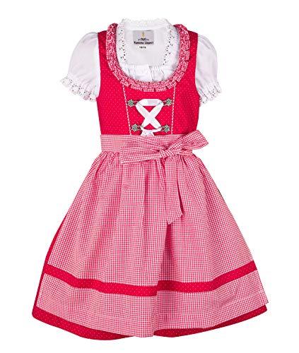 Ramona Lippert® - Kinder Dirndl für Mädchen - Kinderdirndl Nele in rot - 3-teiliges Trachtenkleid - Trachtenmode - Tracht mit Schürze...