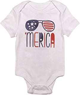 RAINED-Newborn Infant Baby Boy Girl Romper Funny One-Piece Summer Bodysuit Outfits 4th July American Flag Clothes