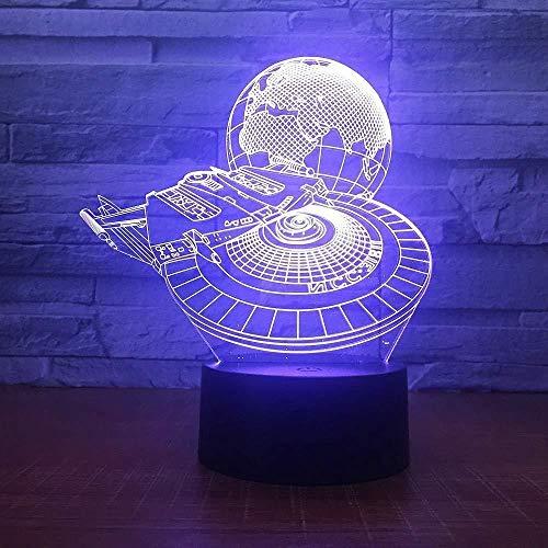 Lámpara De Ilusión 3D Halcón Milenario Con Tierra Lámpara Led 3D Dormitorio De Niño Luz De Noche Decoración Bombillas Juguetes Para Niños Regalo Para Niños