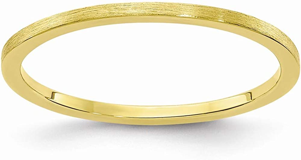 Solid 10k Yellow Gold 1.2mm Flat Stackable Brushed Matte Finish Band Thin Wedding Anniversary Ring