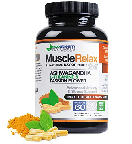 All Natural Relaxant Muscle Relax 24/7 - Large 2,300 Milligram Day/Night Use Capsules Maximum Strength Support - Support for Muscle Spasm, Tension and Stress with Valerian, Passion Flower, Magnesium