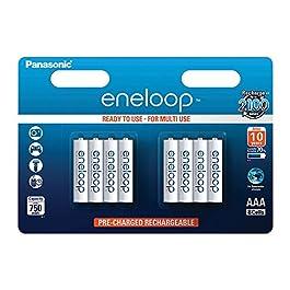 Panasonic eneloop, pile Ni-MH prête à l'emploi, AAA Micro, pack de 8, min. 750 mAh, 2100 cycles de charge, aux…