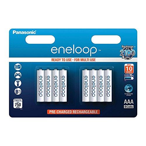 Panasonic eneloop, Ready-to-Use Ni-MH Akku, AAA Micro, 8er Pack, min. 750 mAh, 2100 Ladezyklen, starke Leistung und geringe Selbstentladung, wiederaufladbare Akku Batterie
