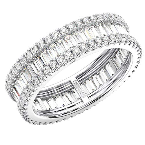 Anillo de eternidad completo con diamante de corte redondo y baguette certificado GH/SI de 2,00 quilates, oro blanco de 9 quilates.