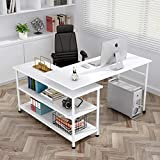 Tribesigns Modern L-Shaped Desk with Storage Shelves, 360°Rotating Desk Corner Computer Desk Study Writing Table Workstation with Open Shelves for Home Office, High Glossy Finish (White)