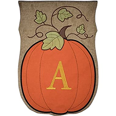 JEC Home Garden Flag Monogram Fall Pumpkin Burlap Autumn Garden Flag 12.5 x 18 (A)