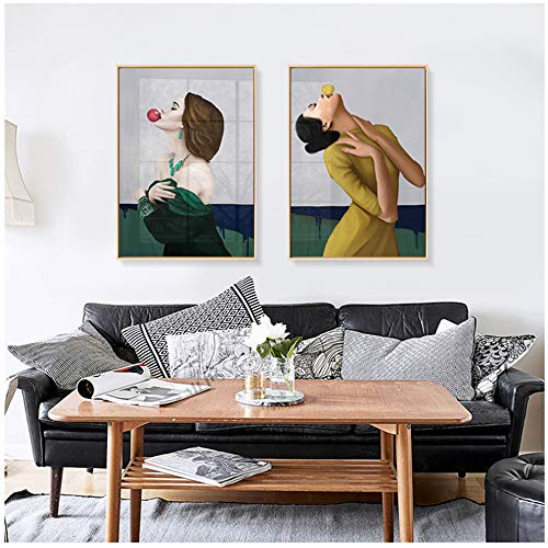 Jin Yi Global Modern Kauwgom Dames Portret Canvas Decoratieve Schilderijen Muurfoto's voor Woonkamer Home decor-50x70cm Geen Frame