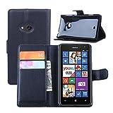 Ycloud Tasche für Nokia Lumia 625 Hülle, PU Ledertasche Flip Cover Wallet Hülle Handyhülle mit Stand Function Credit Card Slots Bookstyle Purse Design schwarz