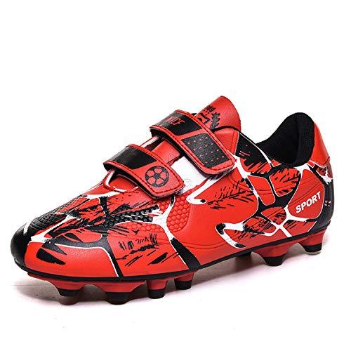 WEJIESS Zapatos de fútbol para hombre para niños, zapatos atléticos, botas de entrenamiento para profesión (niños pequeños, niños grandes/hombres), rojo (Rojo 2), 33 EU
