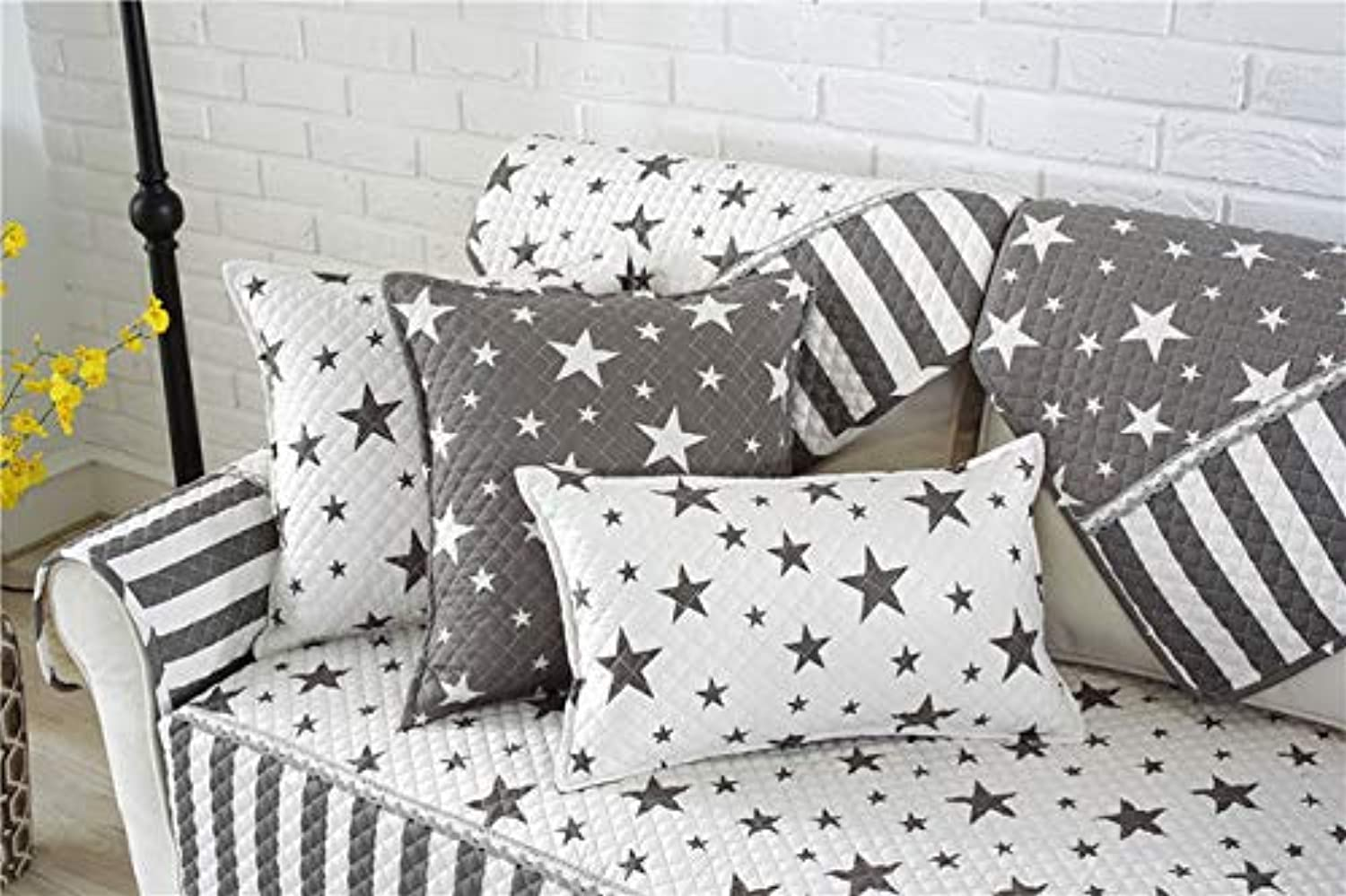 Les Baoyi Modern Style Star Printed Sofa Cover Quilted Slipcovers Cotton Anti-Slip Canape Furniture Cover Fundas de Sofa   LK4004B, 90x90cm