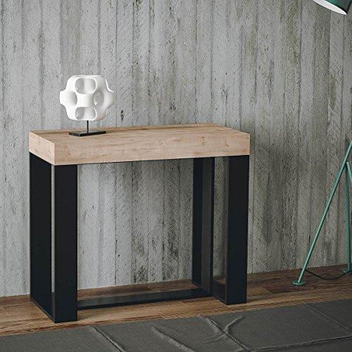 Group Design Futura Table console extensible, en chêne naturel, équipée d'une structure anthracite - Fabriquée en Italie - 14 personnes- 3 mètres