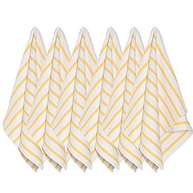 Now Designs Basketweave Kitchen Towel, Set of Six, Lemon Yellow
