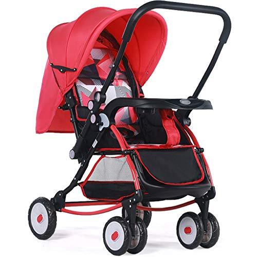 Kiter Poussette Landau La Poussette Haute de Paysage Peut s'asseoir inclinable léger Pliant Le Chariot de bébé Le Choc de Quatre Roues bébé Le Transport de bébé à Deux Sens (Color : Red)