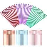 60pcs 2 Tamanos Agujas de Coser Plástico Ojo Grande Agujas Seguridad Colores para Ninos Manualidades