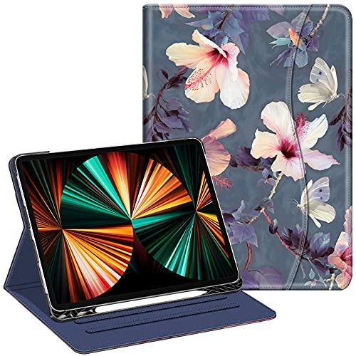 FINTIE Funda para iPad Pro 12,9' (5.ª Generación, 2021) - Carcasa de Ángulos Múltiples con Bolsillo Auto-Reposo/Activación Compatible con iPad Pro 12,9' 2020/2018, Hibisco