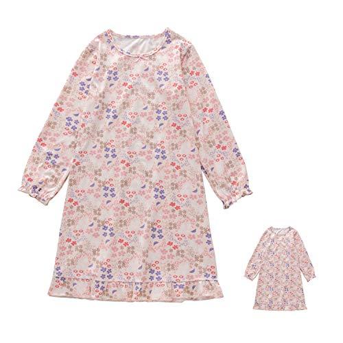Allmeingeld Kleine Mädchen Nachthemden mit Blumenmuster & Puppenkleid Langarm-Nachthemd für Kleinkinder 5 6T
