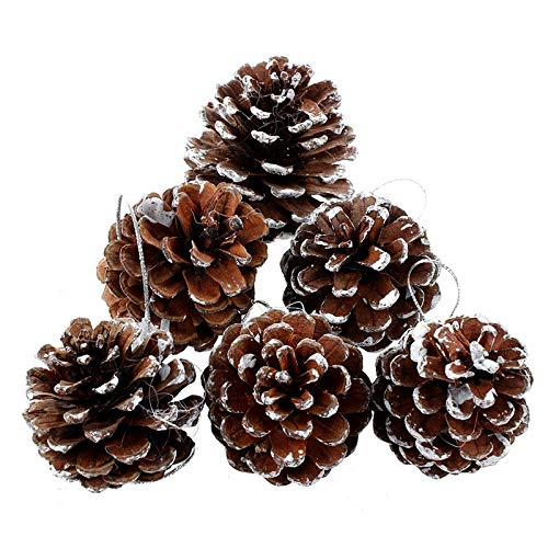 Yahpetes 6 Pcs Christmas Pine Cones 1.96' Snow Tipped Natural Pine Cones Wood Frosted Pine Cone Ornaments for Decorating and Designing (6 pcs)