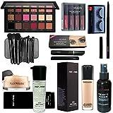 LOVE HUDA Professional Makeup Combo Primer, Foundation, Eyeliner, Mascara, Kajal, Loose Face Powder, Eyeshadow, Makeup Brush, Red Edition Lipstick, Eyelashes And Makeup Fixer Set Of 14