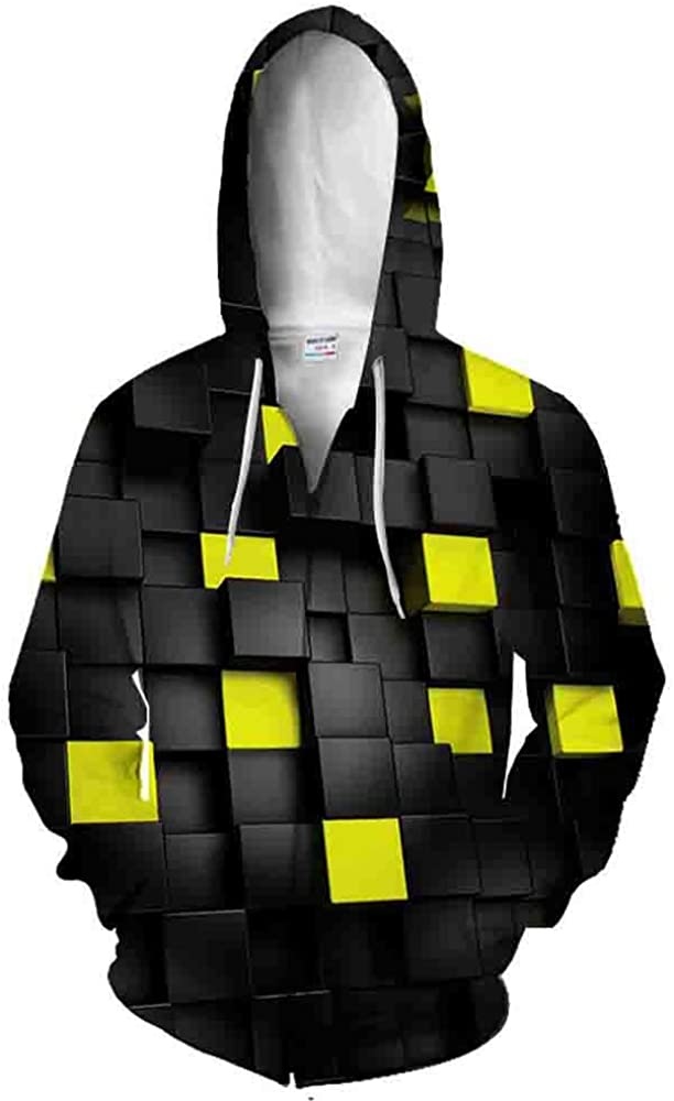 New Black and White Square 3D Printed Cardigan Hooded Zipper Sweater