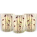 BANBERRY DESIGNS Cardinal Candle Votive Holders - Set of 3 Frosted Glass Red Cardinals on Birch Tree Branches - 3 LED Tealight Candles Included