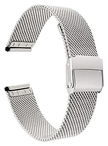 ZXF Correa Reloj, Cinta de Rejilla de Metal de Acero Inoxidable Reloj de Cierre rápido Pulsera Reloj de Reloj Inteligente Pulseras para Hombres Mujeres 13mm 14mm 16mm 17mm 18mm 19mm 20mm 22mm Pulsera