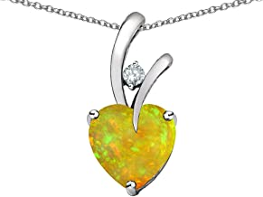 Star K Choice of 10k Gold or Sterling Silver Heart Shape 8mm Endless Love Pendant Necklace