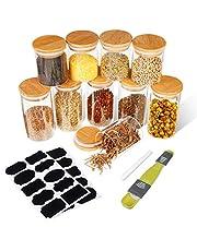 SAWAKE Zestaw 10 szt. (250 ml i 350 ml), minisłoiki na przyprawy, słoiki na zapasy, słoiki z pokrywką, do kuchni, szczelne pojemniki na przyprawy/ziarna/cukier