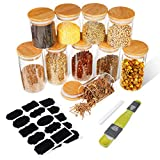 SAWAKE Glass Storage Jars with Bamboo Lids Silicone Ring Set of 10 (250ml*5+350ml *5) Small Air Tight Kitchen Canister Jar Storage Containers for Spice Sugar Tea Coffee Beans Snack Nuts Herbs Grains