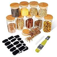 sawake set di 10 barattoli in vetro borosilicato, contenitori alimenti con coperchio ermetico di legno bambù e rondella in silicone, per spezie, caramelle, ecc - 5pcs 200 ml + 5pcs 300 ml