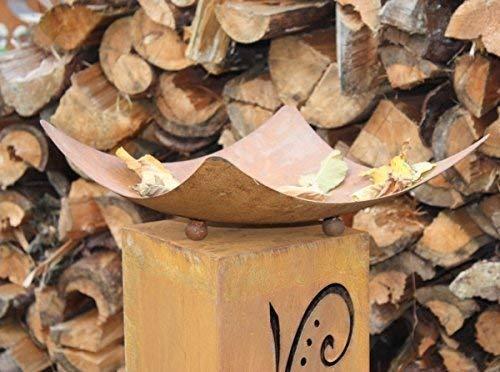 "Rostikal | Geschwungene Rost Schale ""Didra"" auf Kugeln | Feuerschale aus Metall | 50 x 50 cm"