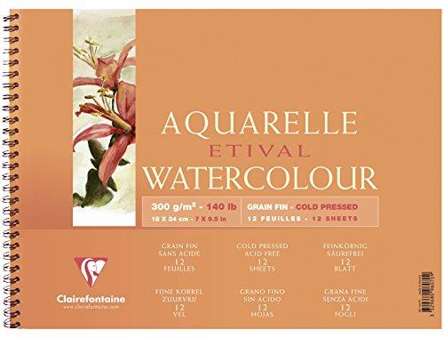 Clairefontaine 96070C Malblock, mit Doppelspirale Aquarellpapier Feinkörnig, Etival/Zellulose, 12 x 18 cm, 12 Blatt, 300 g, weiß
