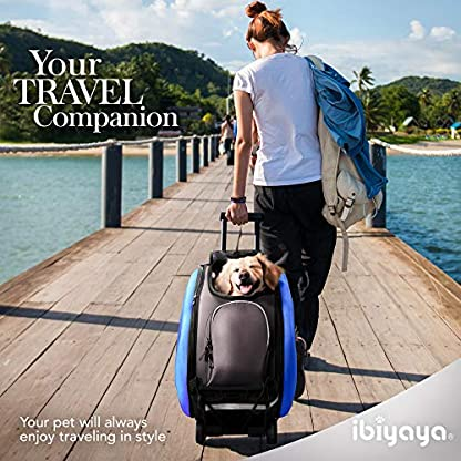 ibiyaya Multifunction Pet Carrier + Backpack + CarSeat + Pet Carrier Stroller + Carriers with Wheels for Dogs and Cats All in ONE (Blue) 6