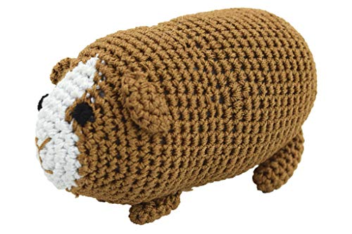 PETFLY Dog Teeth Cleaning Organic Cotton Crochet Squeaky Dog Toy for Small Dog - Guinea Pig
