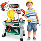 STEAM Life Toddler Workbench Toy Tool Set with Power Toy Drill - Toddler Tool Bench for Kids Workbench with Toy Gears, Helmet 59 Pcs - Kids Tool Set - Toy Tool Set for Boys Workshop Ages 3 4 5 6 7