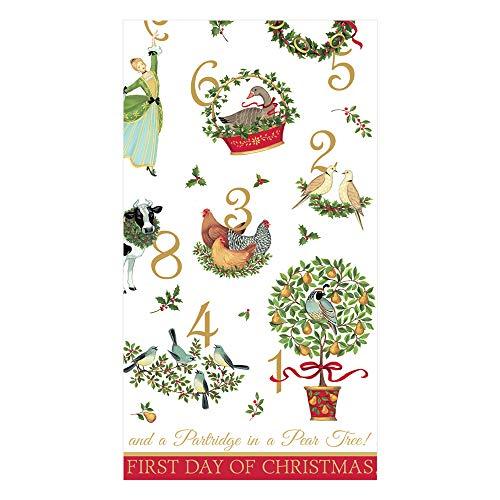 Caspari Christmas Hand Towels for Bathroom, Christmas Bathroom Decor, Fingertip Towels, Disposable Guest Towels -12 Days Pk 30