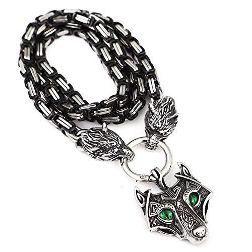 YANGFJcor Collar con Colgante de Cabeza de Lobo de Acero Inoxidable Vikingo nórdico Retro, Collar de Cadena de Emperador Negro 3D, joyería para Hombre, Regalo de Amuleto pagano Mjolnir,50cm