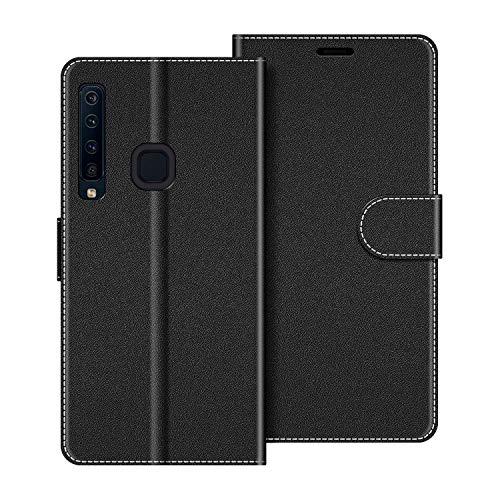 COODIO Handyhülle für Samsung Galaxy A9 2018 Handy Hülle, Samsung Galaxy A9 2018 Hülle Leder Handytasche für Samsung Galaxy A9 2018 Klapphülle Tasche, Schwarz