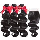 Hermosa Brazilian Body Wave 3 Bundles with Closure Good Quality 8A 100% Unprocessed Brazilian Human Hair Bundles with Closure Middle Part 16 18 20+14