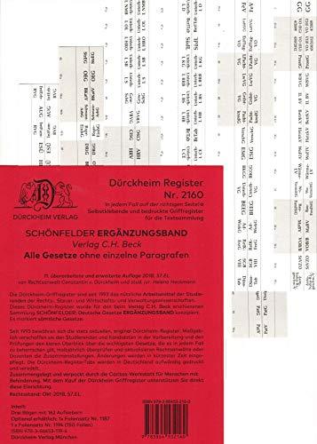 DürckheimRegister SCHÖNFELDER Ergänzungsband (2020) nur Gesetze (Akronyme: EGBGB usw.): 162 Registeretiketten (sog. Griffregister) für den ... der Gesetzessammlungen vom C.H. Beck Verlag