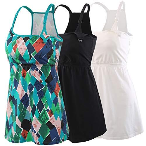 KUCI Damen still-top tank-cami, still-schlaf-bh stillen tops für schwangerschaft mittel schwarz + schwarz + schwarz / 3pack