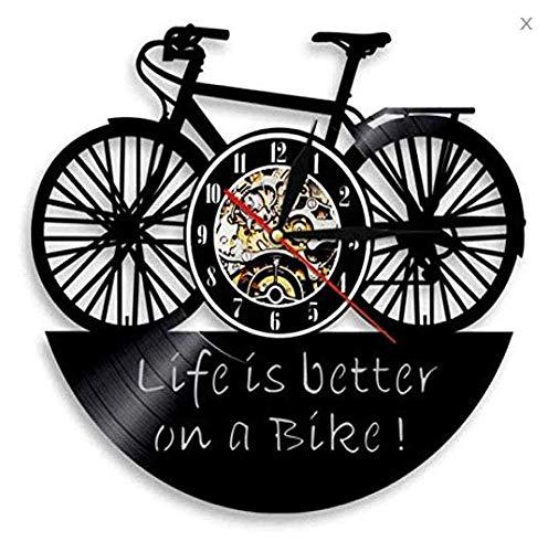 TIANZly Bike Cycle DesignSilent Schallplatte Wanduhr Das Leben ist Besser auf einem Fahrrad Vintage Home Decor Wandkunst Uhr