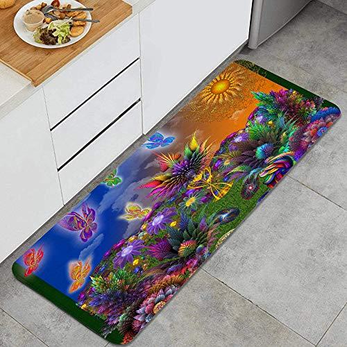 VAMIX Tappeto da Cucina,Fantasia frattale 3d, giardino delle farfalle arcobaleno,antiscivolo passatoia da cucina antiscivolo zerbino tappetino per il bagno