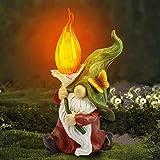 Decorazione da Giardino Scultura Ornamento, Simpatica Statua di Gnomo in Resina con Lampada Solare...